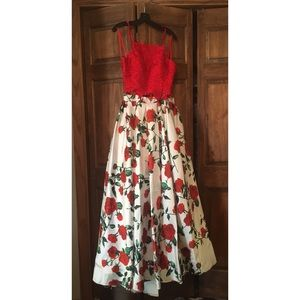 Red Two-piece Dave and Johnny Prom Dress